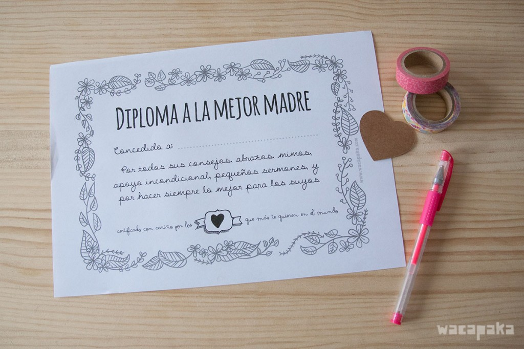 Diploma a la mejor madre del mundo