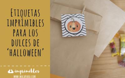 Etiquetas imprimibles para los dulces de Halloween